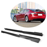 For Tesla Model S Sedan 14-19 Carbon Fiber Side Skirts Door Rocker Panels Extension Lip