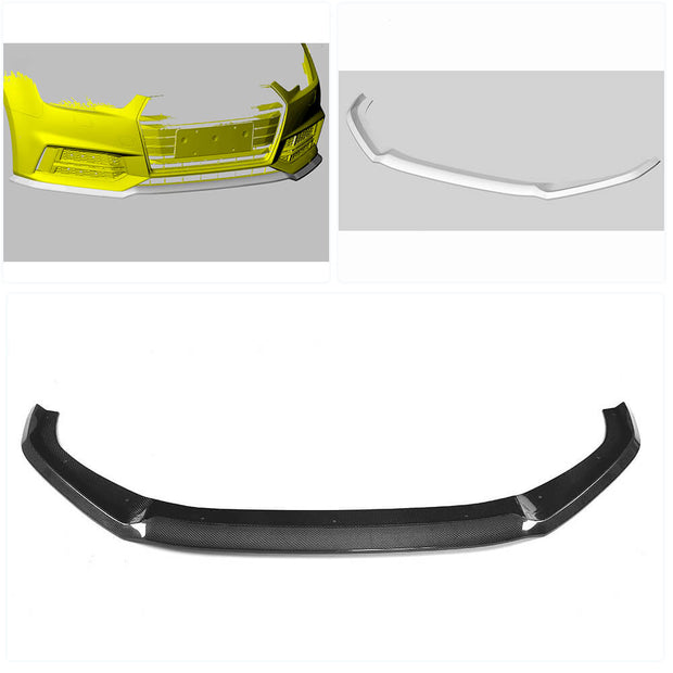 For Audi S4 A4 B9 Sline Sedan 17-20 Carbon Fiber Front Bumper Lip Chin Spoiler Body Kit