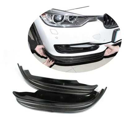 For BMW 3 Series F30 Base Sedan 12-15 Carbon Fiber Front Bumper Splitter Cupwing Winglets Vent Flaps