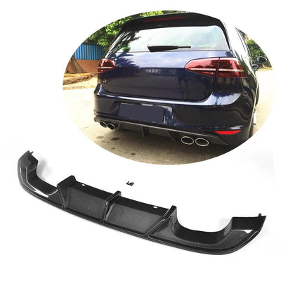 For Volkswagen VW Golf 7 MK7 R R-Line Hatchback 14-16 Carbon Fiber Rear Bumper Diffuser Lip