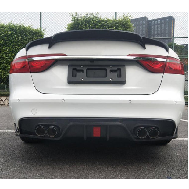 For Jaguar XF Sedan 16-19 Carbon Fiber Rear Bumper Diffuser Lip