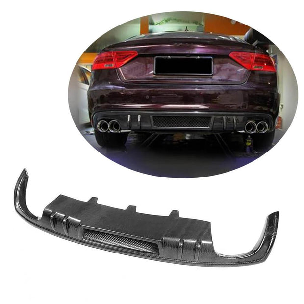 For Audi A5 B8.5 Base Sportback 12-16 Carbon Fiber Rear Bumper Diffuser Lip