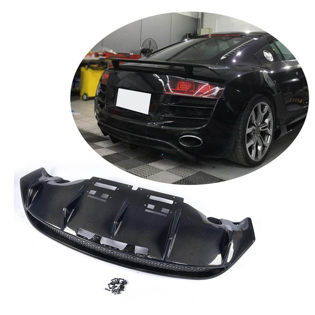 For Audi R8 V8 V10 2-Door 08-15 Carbon Fiber Rear Bumper Diffuser Lip