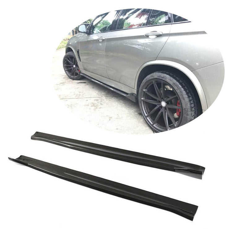 For BMW X5M F85 X6M F86 Sport Utility 15-19 Carbon Fiber Side Skirts Door Rocker Panels Extension Lip