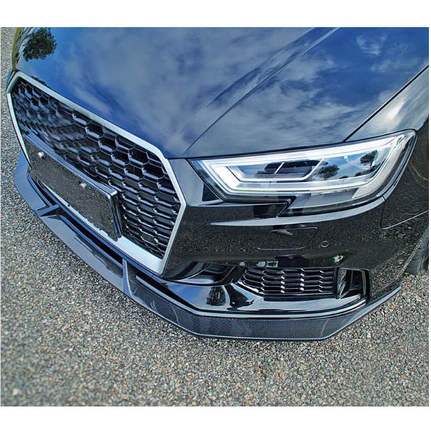For Audi RS3 Sedan 17-19 Carbon Fiber Front Bumper Lip Chin Spoiler