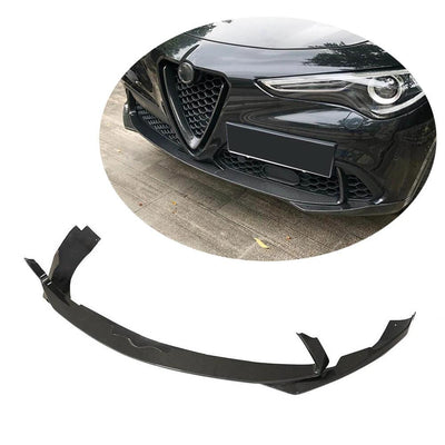For Alfa Romeo Stelvio Base Sport Utility 17-19 Carbon Fiber Front Bumper Lip Chin Spoiler Body Kit 3Pcs