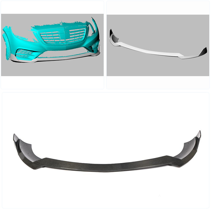 For Mercedes Benz W222 Sport Sedan 14-17 Carbon Fiber Front Bumper Lip Chin Spoiler Body Kit