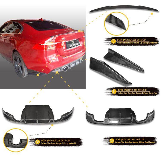 For Jaguar XE Sedan 15-19 Auto Carbon Fiber Package Wide Body Kit