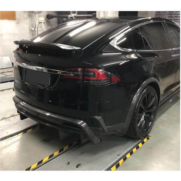 For Tesla Model X Sport Utility 16-19 Carbon Fiber Rear Bumper Diffuser Body Kit