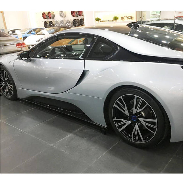 For BMW I8 Coupe 14-18 Carbon Fiber Side Skirts Door Rocker Panels Extension Lip