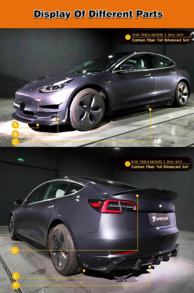 For Tesla Model 3 Sedan 16-20 Auto Carbon Fiber Package Wide Body Kit