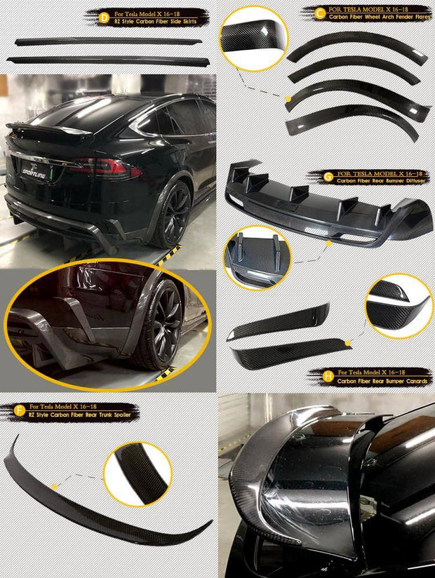 For Tesla Model X Sport Utility 16-19 Auto Carbon Fiber Package Wide Body Kit