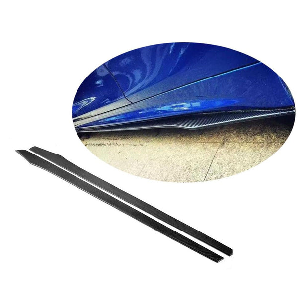 Universal Sedan Car Auto Carbon Fiber Side Skirts Door Rocker Panels Extension Lip