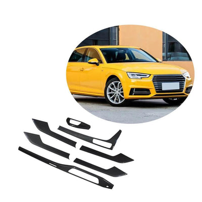 For Audi S4 A4 B9 Sline Sedan 17-20 Replacement Carbon Fiber Car Dashboard Trims Interior Body Kit 7Pcs