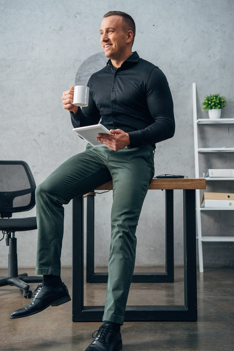STRAIGHT FIT CHINOS - FOREST GREEN (2416705175633)