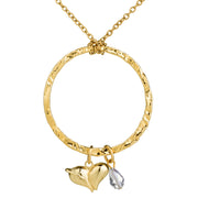 Open Circle Long Necklace w/Heart & Swarovski Crystal Charm ($38 Value)