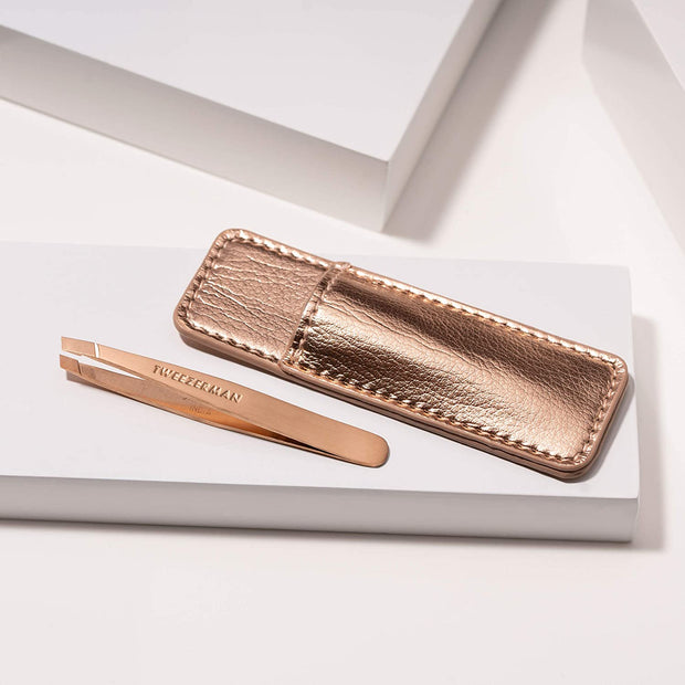 Rose Gold mini slant & case | Tweezerman