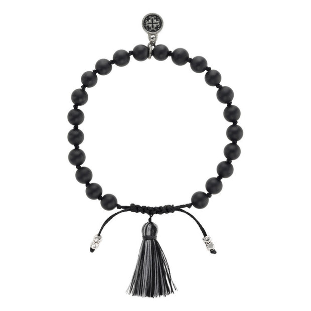 BLACK AGATE TASSEL BRACELET | Mala and Mantra