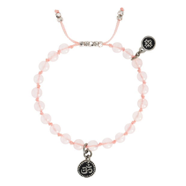 Rose Quartz Om Charm Mala Bracelet | Mala and Mantra