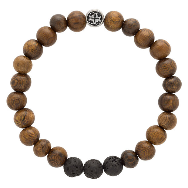 ROBLES WOOD + BLACK LAVA STONE TRIPLE HAPPINESS MEN'S/UNISEX ELASTIC MALA BRACELET