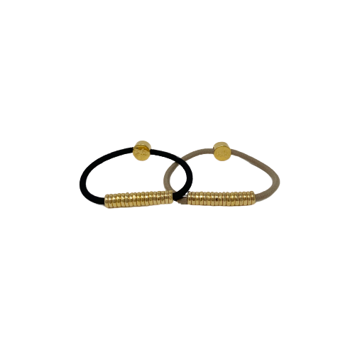 By Lilla Black Gold Disc hair tie