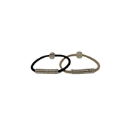 By lilla black silver disc hair tie