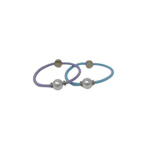 By Lilla Silver Pearl Hair tie