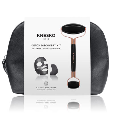Black Pearl Detox Discovery Kit - Collagen Mask & Obsidian Gemstone Roller Set | Knesko