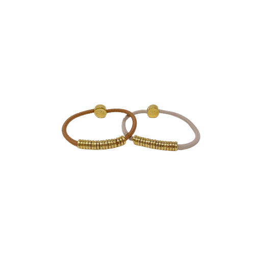 By Lilla Pink Disc Gold Hair tie