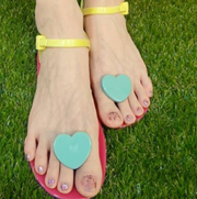 Zhoelala blue heart pink sandal on grass