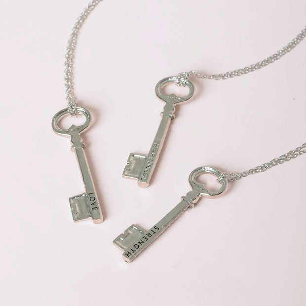 Sparkle Key word necklace silver