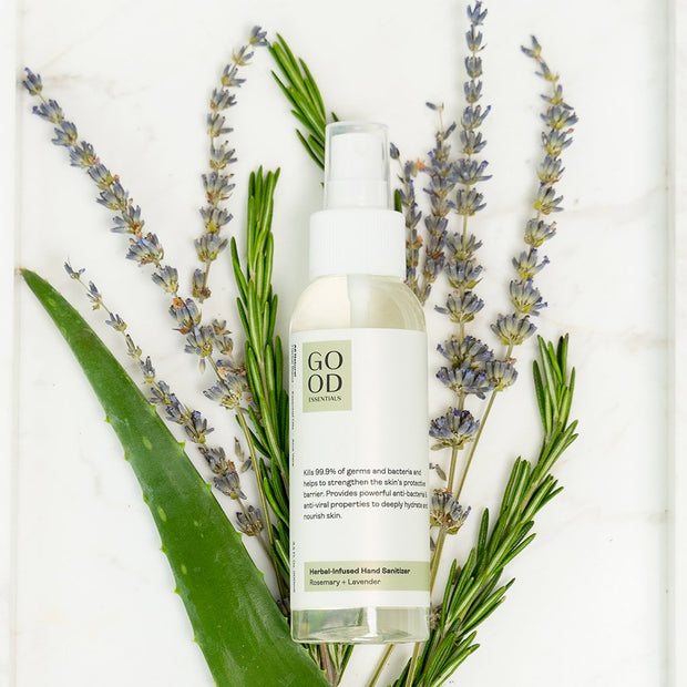 Herbal Infused Hand Sanitizer - Rosemary + Lavender | Good Essentials