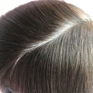 0.07mm Thin Poly Injected Indian Human Hair Toupee For Men