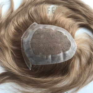 PO-0527116274 French Lace With Thin Poly All Around Perimeter Plus Lace Frontal Hair System