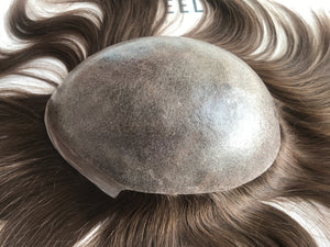 0.07mm Thin Poly Injected European Human Hair Toupee For Men