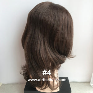 Mono Top Lace Front Wefted Back Chinese Cuticle Virgin Human Hair Full Wig For Ladies (MT11)