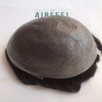 0.08mm Thin Poly Knotted Toupee For Men