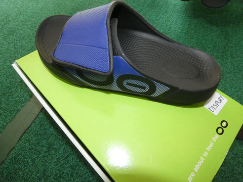 SALE - Velcro Blue Grid OOFos Slides