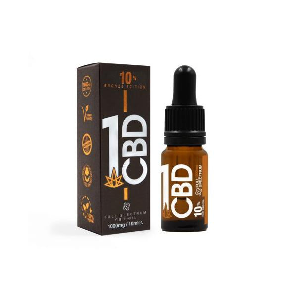 1CBD 10% Pure Hemp 500mg CBD Oil Bronze Edition 5ml