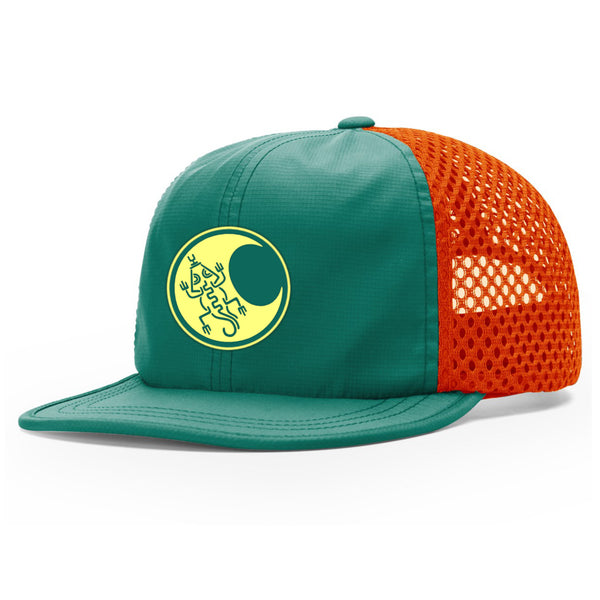Mayan Moon Lizard Outdoor Perfomance Trucker - Teal/Orange