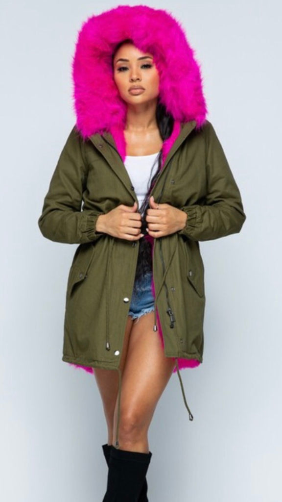 Green coat with fuchsia pink faux fur