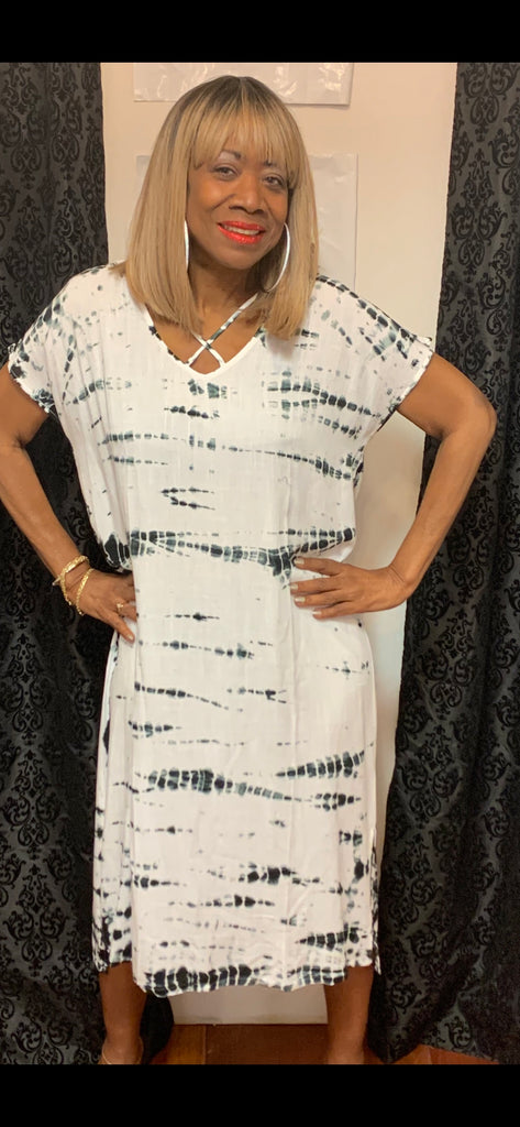 Black and white Tye dye  dress