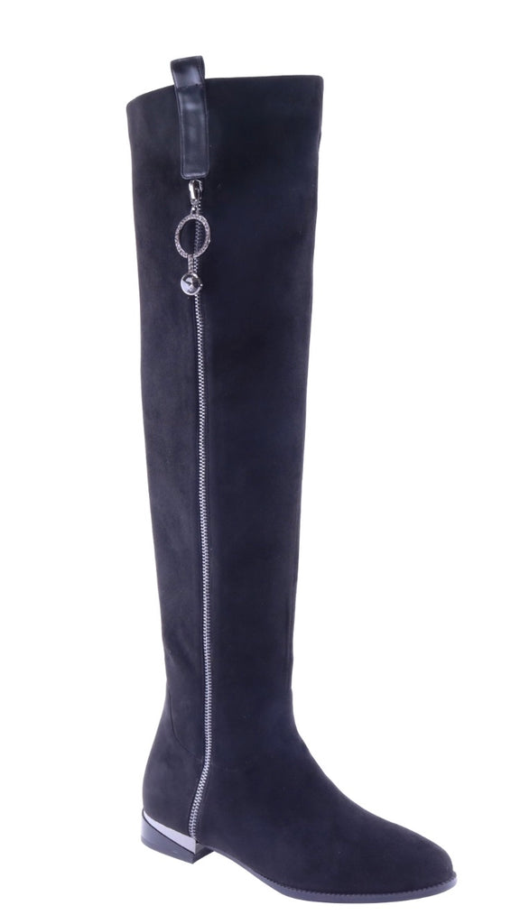 Black tall boots with zipper