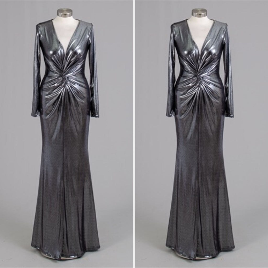 Silver Metallic Deep Plunge Long Sleeve Gown