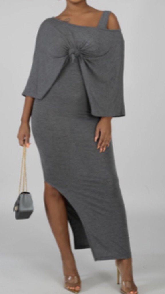 Gray Dress And Poncho Set