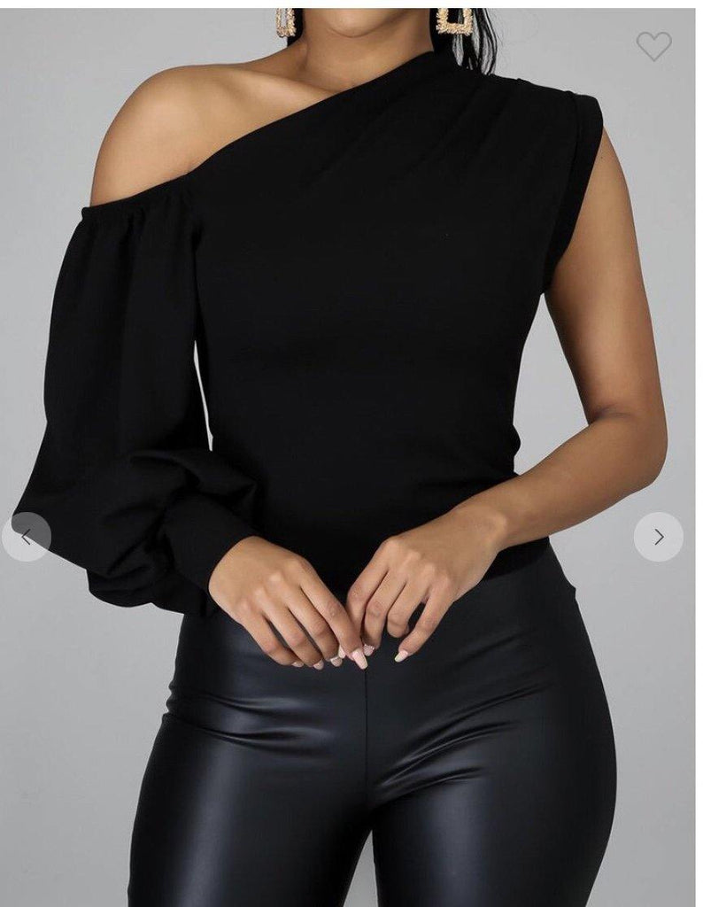 Black one sleeve top