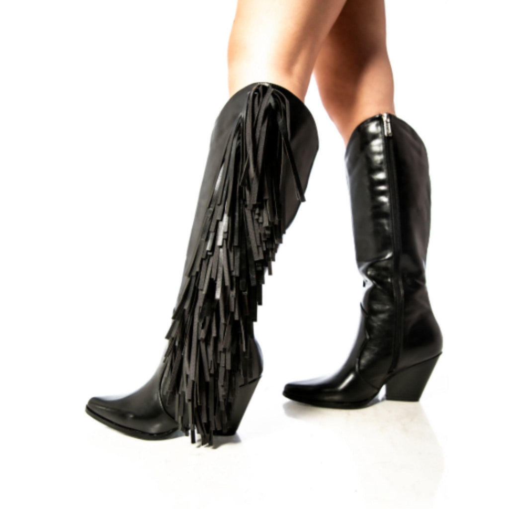 Black Fringe Faux Leather Boots