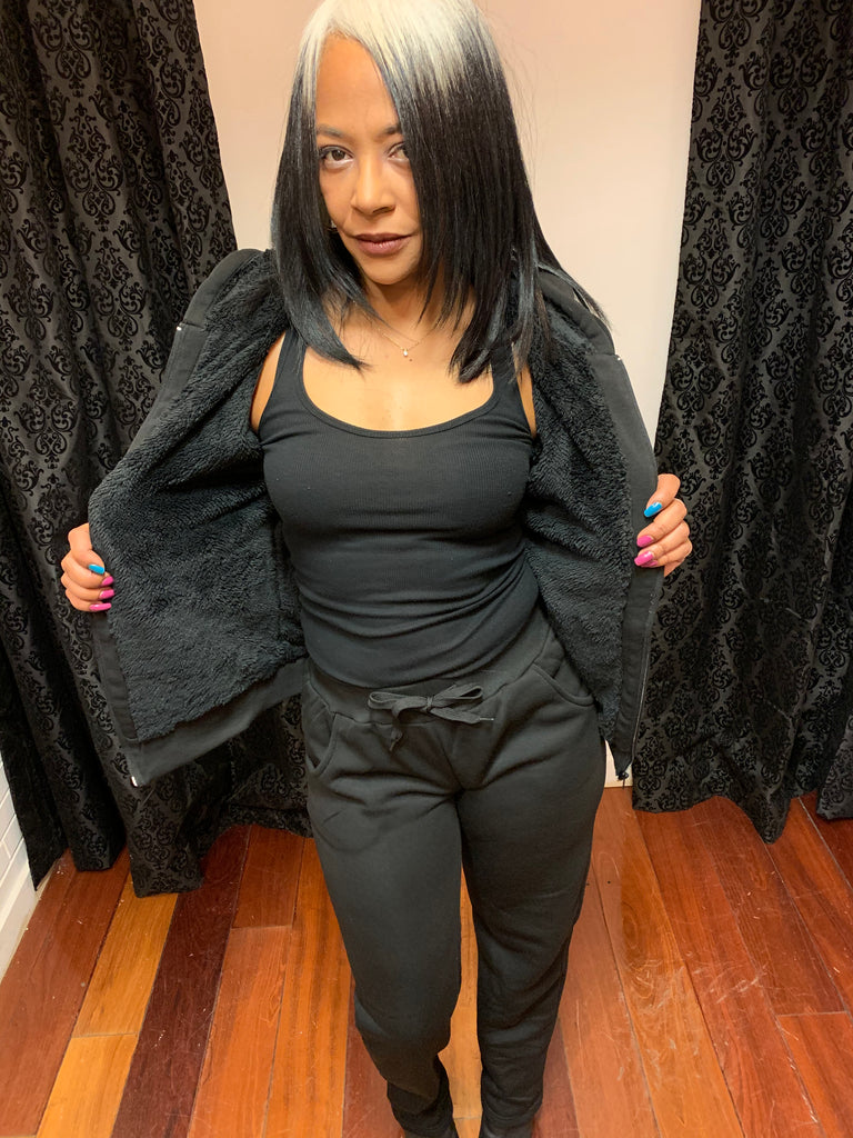 Black furry jogging suit