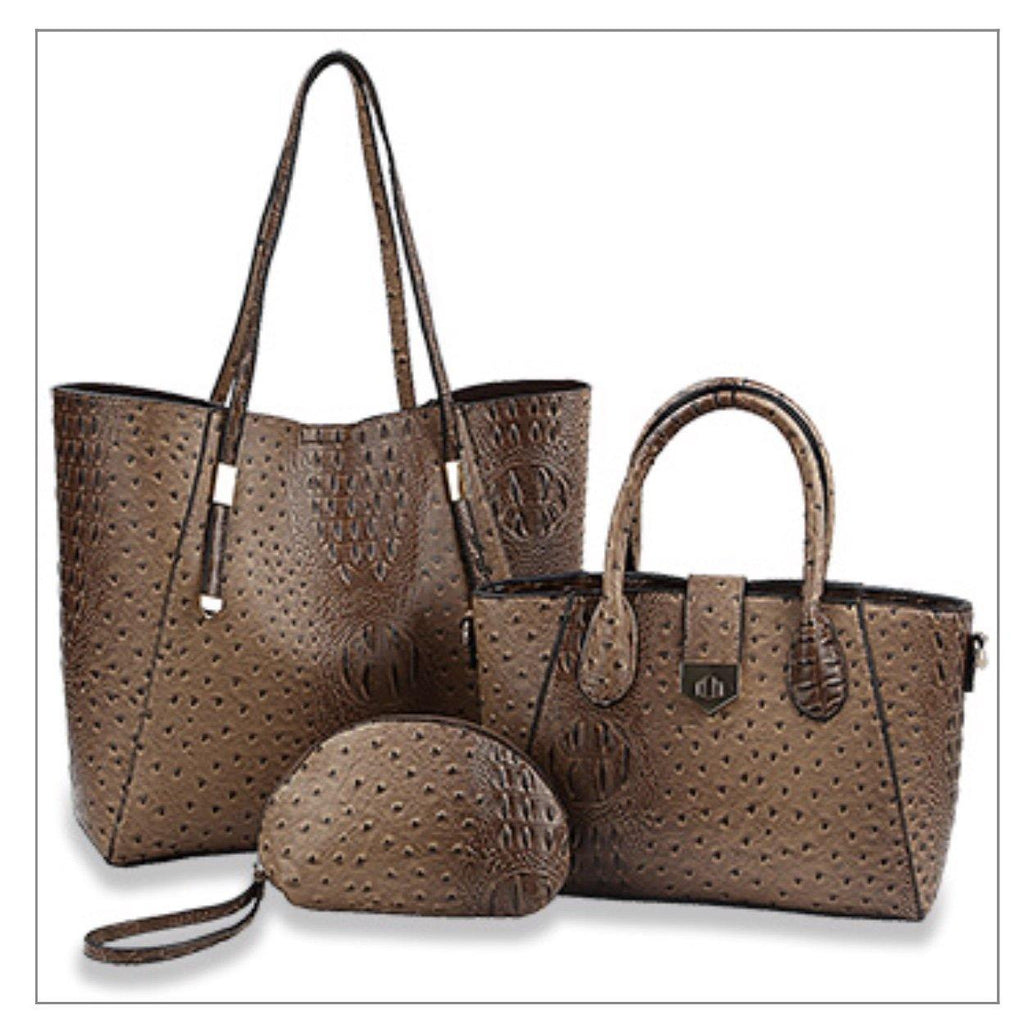 3 Pc Brown Ostrich purse