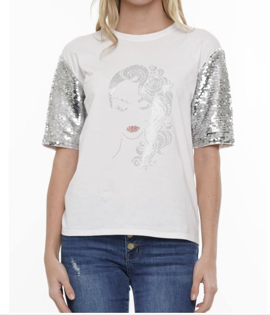 White T-shirt silver sequin sleeve